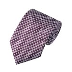 "SD-121A | Dark Plum and Gray Houndstooth Men's 2.75"" Slim Woven Tie"
