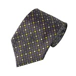 "SD-123A | Purple, White, Yellow and Pink on Glen Checks in Gray Men's 2.75"" Slim Woven Tie"