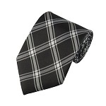 "SD-124 | Traditional Black and Gray Multi-Plaid Men's 2.75"" Slim Woven Tie"