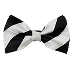 DSB-5850 | Pre-Tied Black and Silver College Stripe Bow Tie