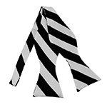 SDS-5850 | Self Tie Black and Silver College Stripe Bow Tie