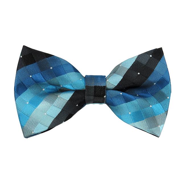 9cc850884aeb BL-32 | Multi-Shade Blue and Black Cross Weave Woven Pre-Tied