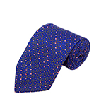PD-63 | Pink Flags W. Yellow Wreath Pattern On Blue Men's Printed Design Necktie