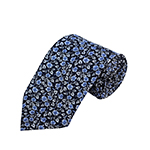 PD-64 | Steel Blue Floral Pattern On Dark Navy Men's Printed Design Necktie