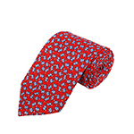 PD-65 | Grey Elephant Pattern W. Cream Hearts On Red Men's Printed Design Necktie