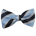 MB-130A | Powder Blue and Navy Blue Striped Men's Woven Bow Tie