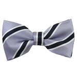 MB-132A | Lavender and Navy Blue Narrow Striped Men's Woven Bow Tie