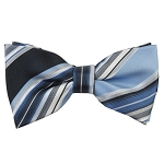 MB-150 | Powder Blue and Navy Blue Multi-Striped Men's Woven Bow Tie