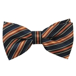 MB-167 | Cinnamon, Honey Gold and Navy Blue Alternating Stripe Men's Woven Bow Tie