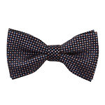 MB-179 | Coral and Steel Blue Geometric Pixel Men's Woven Bow Tie