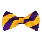DSB-3148 | Pre-Tied Deep Purple and Golden Yellow College Stripe Bow Tie
