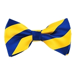 DSB-3648 | Pre-Tied Royal Blue and Yellow College Stripe Bow Tie