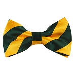 DSB-3748 | Pre-Tied Forest Green and Gold College Stripe Bow Tie