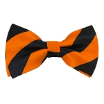 DSB-5803 | Pre-Tied Black and Orange College Stripe Bow Tie