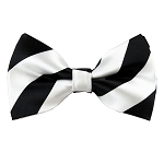 DSB-5820 | Pre-Tied Black and White College Stripe Bow Tie