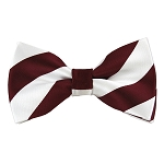 DSB-6220 | Pre-Tied Burgundy and White College Stripe Bow Tie