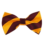 DSB-6248 | Pre-Tied Burgundy and Golden Yellow College Stripe Bow Tie