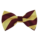 DSB-6275 | Pre-Tied Burgundy and Honey Gold College Stripe Bow Tie
