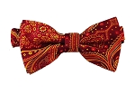 DB-09 | Pre-Tied Wine, Red and Golden Yellow Woven Paisley Bow Tie