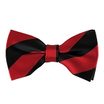 DSB-5801 | Pre-Tied Black and Red College Stripe Bow Tie