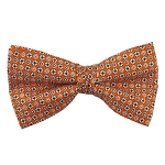 PB-01A | Pre-tied Repeating Flowers on Orange Men's Printed Design Bow Tie