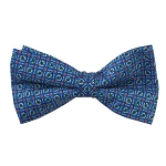 PB-02A | Pre-tied Circle Print Pattern on Steel Blue Men's Printed Design Bow Tie