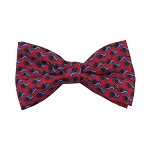 PB-03A | Pre-tied Steel Blue French Horn Patterns on Red Men's Printed Design Bow Tie
