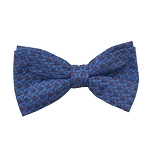 PB-04C | Pre-tied Chain Link Patterns on Steel Blue Men's Printed Design Bow Tie