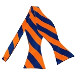 SDS-3603 | Self Tie Royal Blue and Orange College Stripe Bow Tie