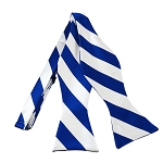 SDS-3620 | Self Tie Royal Blue and White College Stripe Bow Tie