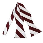 SDS-6220 | Self Tie Burgundy and White College Stripe Bow Tie