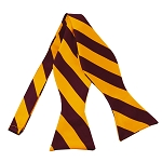 SDS-6248 | Self Tie Burgundy and Golden Yellow College Stripe Bow Tie