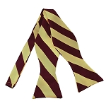 SDS-6275 | Self Tie Burgundy and Honey Gold College Stripe Bow Tie