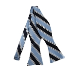 DBS-130A | Powder Blue and Navy Blue Striped Men's Woven Self Tie Bow Tie