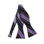 DBS-147 | Lavender, Eggplant and Black Wide Striped Men's Woven Self Tie Bow Tie