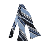 DBS-150 | Powder Blue and Navy Blue Multi-Striped Men's Woven Self Tie Bow Tie