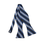 DBS-153 | Peacock Blue, Black and Silver Multi-Repp Striped Men's Woven Self Tie Bow Tie