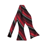 DBS-162 | Red, Burgundy and Black Multi-Striped Men's Woven Self Tie Bow Tie