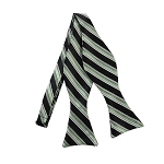 DBS-175 | Sage Green, Black and Silver Multi-Repp Striped Men's Woven Self Tie Bow Tie