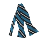 DBS-177 | Turquoise Blue and Black Basket Weave Striped Men's Woven Self Tie Bow Tie