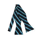 DBS-178 | Two Toned Blue On Black Twill Striped Men's Woven Self Tie Bow Tie