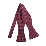PBS-03A | Self Tie Steel Blue French Horn Patterns on Red Men's Printed Design Bow Tie