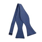 PBS-04C | Self Tie Chain Link Patterns on Steel Blue Men's Printed Design Bow Tie