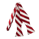 SDS-0120 | Self Tie Red and White College Stripe Bow Tie