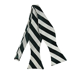 SDS-3720 | Self Tie Forest Green and White College Stripe Bow Tie