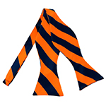 SDS-5303 | Self Tie Navy and Orange College Stripe Bow Tie