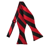 SDS-5801 | Self Tie Black and Red College Stripe Bow Tie