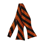 SDS-5803 | Self Tie Black and Orange College Stripe Bow Tie