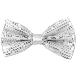 SBT-20 | Solid White Men's Pre-Tied Sequin Bow Ties