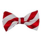 DSB-0150 | Pre-Tied Red and Light Silver College Stripe Bow Tie